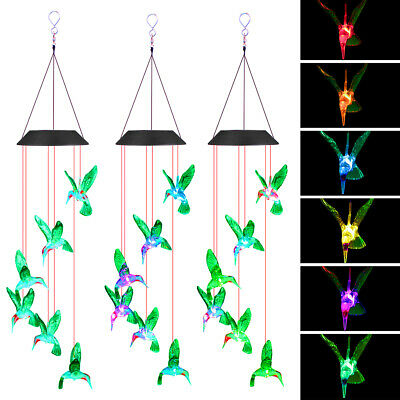 £9.18 • Buy Colour Changing Hanging Wind Chimes LED Light Garden Outdoor Decor Solar Powered