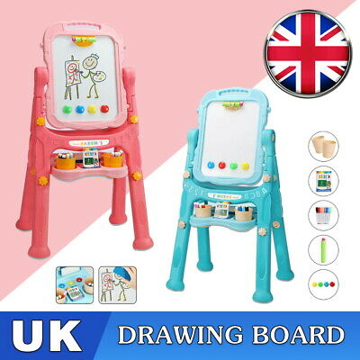 £20.99 • Buy Children Magnetic Drawing Board Easel Double Sided Folding Kids Doodle Sketchpad