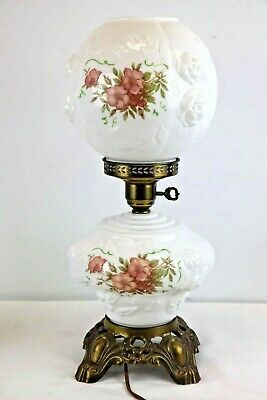 $49.99 • Buy Vintage Hedco Parlor Lamp Gone With The Wind Flowers Floral Milk Glass White