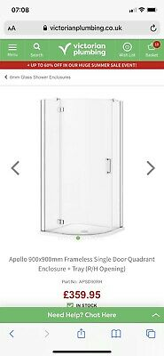 £35 • Buy 900 X 900 Quadrant Shower Enclosure And Tray From Victorian Plumbing