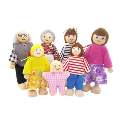 £8.39 • Buy Lots 7 Wooden 1:12 Family Dolls Set Figurines Doll House Acces Play Set