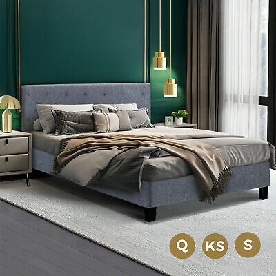 AU179.90 • Buy Bed Frame Queen King Single Mattress Base Fabric Solid Wooden Platform Fabric