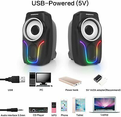 £10.88 • Buy Surround Sound System LED PC Speakers Gaming Bass USB Wired For Desktop Computer