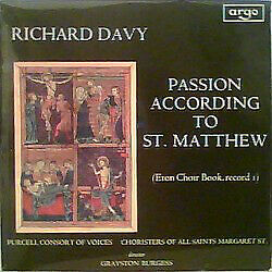 £20.49 • Buy Richard Davy - The Purcell Consort Of Voices, Choir Of All Saints Church, Mar...