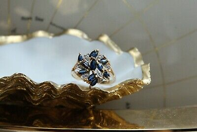 £56 • Buy 9ct Yellow Gold Marquise Cut Sapphire And Round Brilliant Diamond Cluster Ring