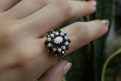 £39 • Buy 9ct Yellow Gold Opal And Sapphire Halo Cluster Ring 5.0g Size O