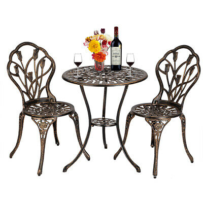 £132.99 • Buy European Style Cast Aluminium Outdoor 3 Pieces  Set Of Table And Chair