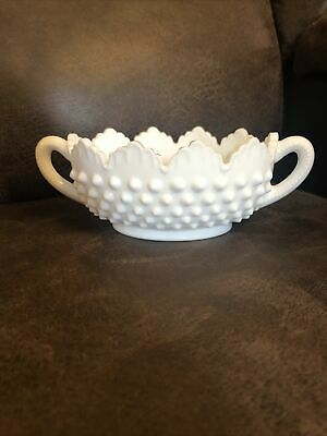 $10 • Buy Hobnail White Milk Glass Oval Nut Dish, Candy Dish - Scalloped Top Edges