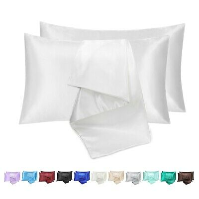 AU9.99 • Buy Silk Satin Pillow Cases Ultra Soft Pillowcase Cover Queen Size Buy 1 Get 1 Free