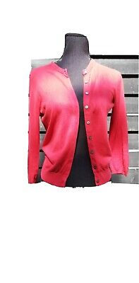 £3.99 • Buy Hobbs Red Cardigan Size 10. Pearlescent Buttons And Pink Trimming.