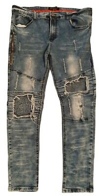 $19.50 • Buy Encrypted Mens Moto Skinny Distressed Jeans Size 38X32