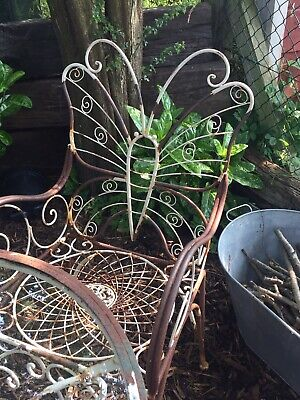 £350 • Buy Unique Butterfly Cast Iron / Aluminium? Vintage White Garden Table 4 Chairs