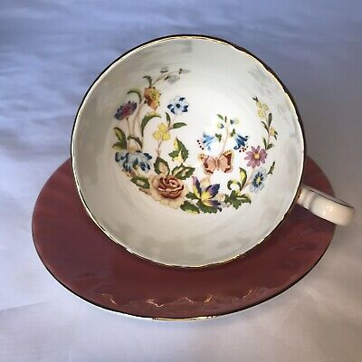 £21.70 • Buy Aynsley England Tea Cup Saucer Deep Pink Butterfly Flowers Gold Trim Vintage