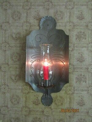 $ CDN23.91 • Buy Pennsylvania Dutch Punched Tin Large Candle Sconce W/bird & Heart Pattern