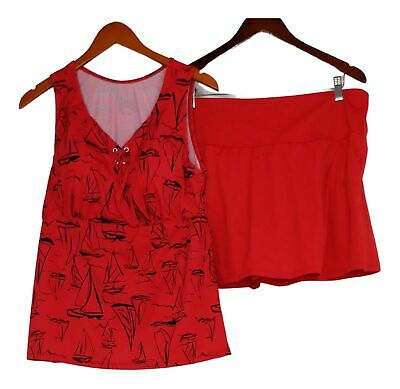 £12.16 • Buy Denim & Co. Swimsuit Sz 14 Beach Lace Up Tankini With Skirt Red A375188