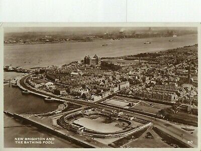£3 • Buy RP Aerial View Postcard - New Brighton & The Bathing Pool, Liverpool, Cheshire.