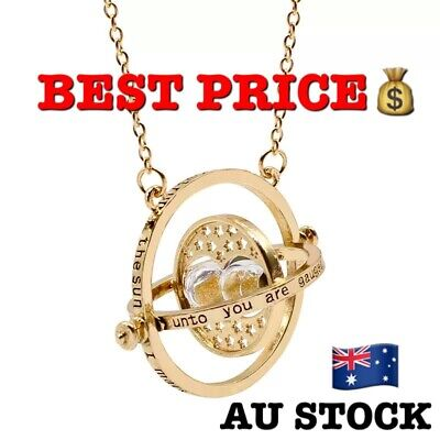 AU4.80 • Buy Harry Potter Gold Tone Hourglass Necklace Pendant Hermione Granger Time Turner
