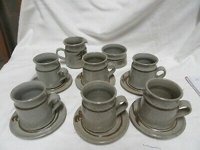 £15 • Buy Lovely Set Of 6 Studio Pottery Mugs & Saucers With Sugar And Cream Jug VGC