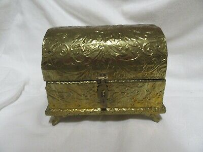 £6.50 • Buy Small Vintage  Brass Hinged Treasure Chest/jewellery Box - Lined With Velvet