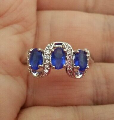 £6.99 • Buy ❤️Ring Size T 9ct White Gold Finish Diamond ❤️ Sapphire Eternity Gift Silver ❤️