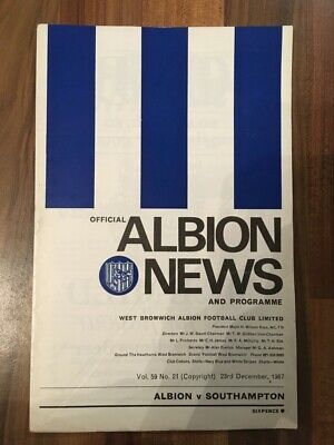 £1 • Buy West Brom V Southampton Programme Football League Division One 23/12/67