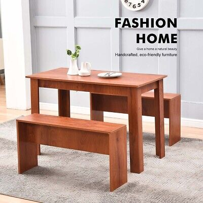 £59.90 • Buy Wooden Dining Table Breakfast Table And 2 Bench Set Kitchen Dining Room  Furnitu
