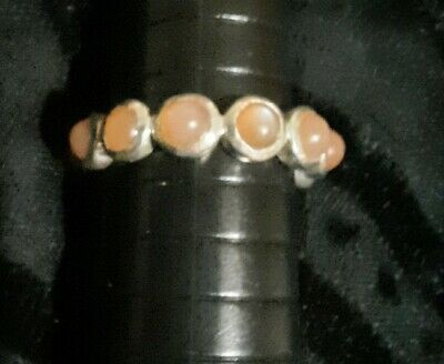 £25 • Buy Peach Moonstone Full Eternity Sterling Silver Ring Size P
