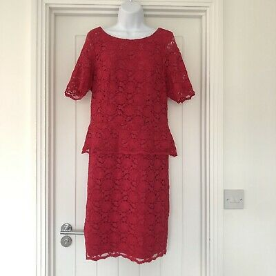 £14.50 • Buy Kaliko Pinky Red Lace Peplum Dress - Size 16 - Great For Wedding, Summer, Party