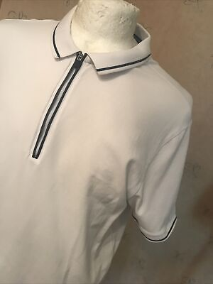 £1 • Buy Marks And Spencer Polo Shirt 1/4 Zip Xl White Blue Harbour 46 Chest VGc