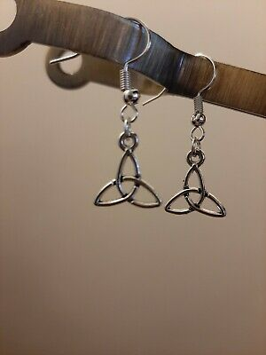 £1.40 • Buy Celtic Knot Dangle Earrings Tibetan Silver Handmade By Me Silver Plated Posts