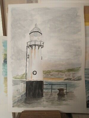 £14.99 • Buy Original Watercolour Of St. Ives Harbour Lighthouse