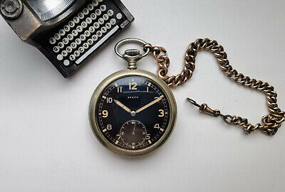 $539 • Buy Pocket Watch Zenith Dh D8412639h Military Ww2 Black #3506125 Serviced
