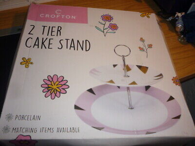 £4.99 • Buy Bn Boxed 2 Tier Porcelain Cake Stand - Crofton