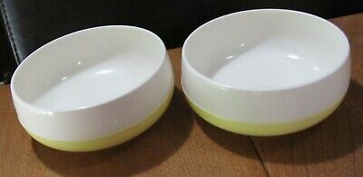 $7.99 • Buy Vintage Bopp Decker Plastic 2 Yellow/white Vacron Insulated Vacuum Cereal Bowls