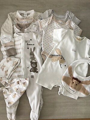 £7.50 • Buy Baby Cream Sleepsuits, Hats And Bodysuits Bundle Aged 0-3 Months (a2)