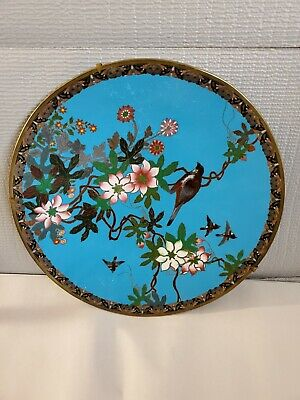 £54.26 • Buy Vintage Large Chinese Bronze Cloisonné Enameled Wall Plaque Bird & Flower AS IS