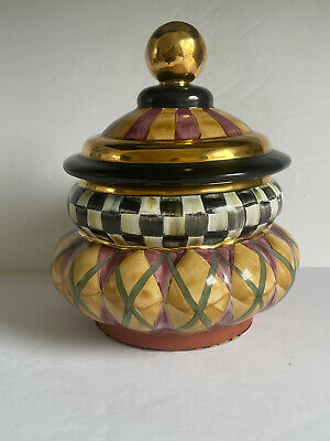 $56 • Buy Vintage Mackenzie Childs Art Pottery Courtly Checks ARGYLE Covered Canister