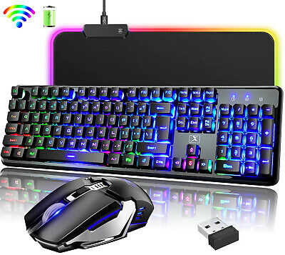 AU73.89 • Buy Rechargeable Wireless Gaming Keyboard 2400DPI Mouse And RGB Mat Set LED Backlit