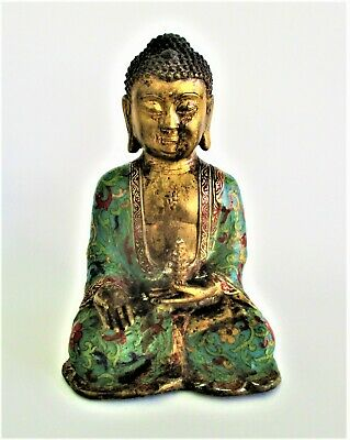 £217.04 • Buy Antique Chinese Gilt Bronze And Cloisonne Buddha