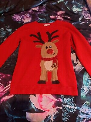 £1.99 • Buy Rudolph Christmas Red Jumper With Bells, Size S
