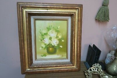 $ CDN47.77 • Buy Vintage Signed B. Reagan Oil On Canvas Floral Painting  8 X10  - 15 X17  Framed