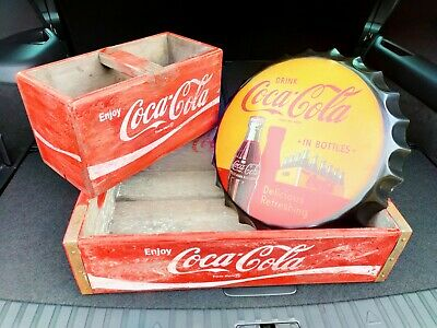 £54.99 • Buy Set Of 3 Coke Cola Distressed Vintage Style Crate, Box & Sign