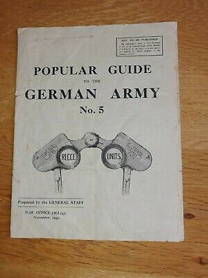 £7 • Buy WW2 British WD Pamphlet/wall Chart.popular Guide To German Army
