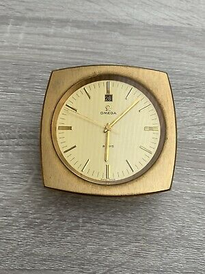 £895 • Buy OMEGA 8 DAY 1960s Rare Lacquered BRASS DESK CLOCK Circular Champagne