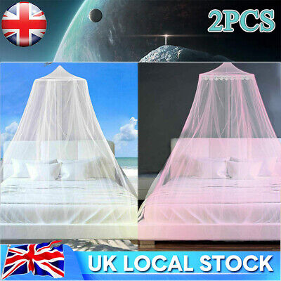 £8.17 • Buy 2X Mosquito Net Canopy Insect Bed Lace Netting Mesh Princess Bedding Drape Cover