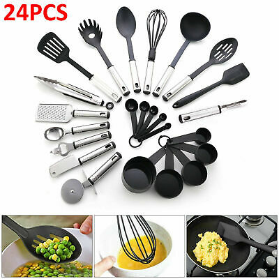 £13.89 • Buy 24Pcs Kitchen Silicone Cooking Utensils Set Nonstick Spatula Tools Black Spoon