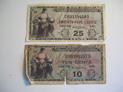 $7.99 • Buy 2 Vintage 1950's Military Payment Certificates 25 Cents & 10 Cents Series 481