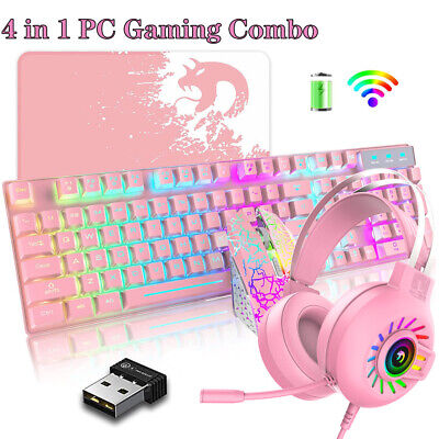 AU79.89 • Buy Wireless Gaming Keyboard Mouse And 3.5mm Headset Combo Rainbow LED Backlit + Mat