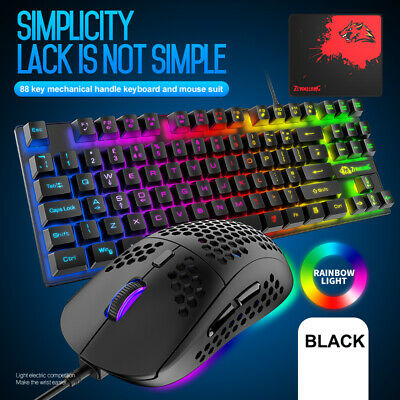 AU41.26 • Buy For PC PS4 Xbox One Gaming Keyboard Mouse And Mouse Pad Set Rainbow RGB Backlit