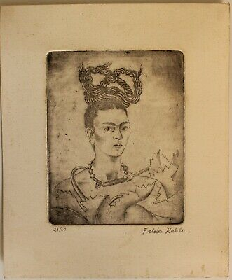 £72.64 • Buy Etching  FRIDA KAHLO  Signed By Hand,gravure,radierung,aguafuerte